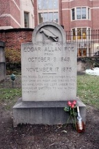 Poe's grave marker in beautiful downtown Bawlmer.