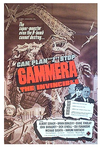 The poster for the U.S. release of Gamera the Invincible shows off the American actors added to improve its marketability here.