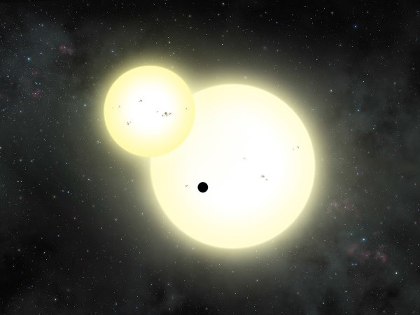 An artist's impression of the simultaneous stellar eclipse and planetary transit events on Kepler-1647. Credit: Lynette Cook